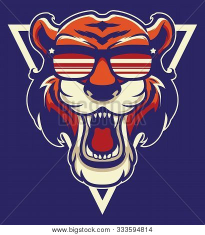 Cool Tiger Mascot. Strong Wildlife Animal Head Isolated On Blue Background. Angry Mammal In Hipster