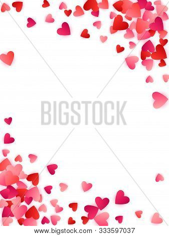 Red Flying Hearts Bright Love Passion Frame Border Vector Background. Romantic Emotions Symbols Conf