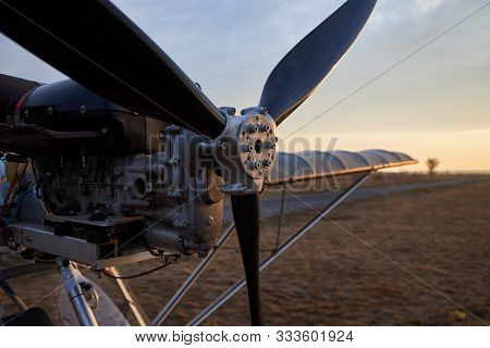 Propeller And Internal Combustion Engine Of An Ultralight Aircraft, Close-up.