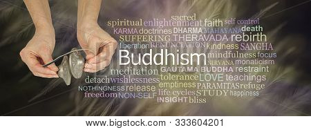 Ting Sha Buddhism Word Cloud - Female Holding Buddhist Ting Sha Cymbals Beside A Buddhism Word Tag C