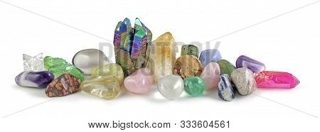 Row Of Multicoloured Healing Crystals Background Banner - Rainbow Aura Quartz And Citrine Surrounded