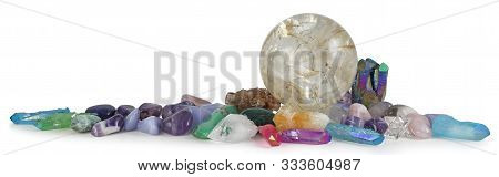 Row Of Multicoloured Healing Crystals Background Banner - Huge Rutilated Crystal Ball Surrounded By