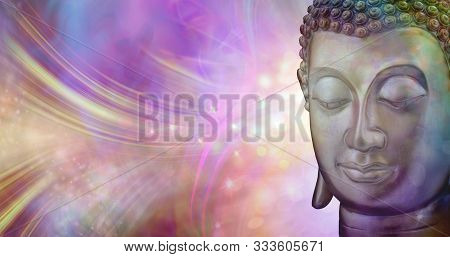 A Moment Of Beautiful Inspiration - Buddha Head Against A Vibrant Multicoloured Sparkling Glowing Et