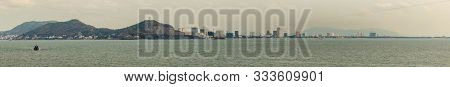 Vung Tau, Vietnam - March 12, 2019: Panorama, Skyline Of The City With High Rise Buildings Adjacent