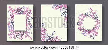 Simple Herb Twigs, Tree Branches, Flowers Floral Invitation Cards Set. Herbal Frames Elegant Cards D