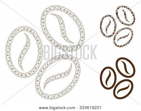 Mesh Cacao Beans Model With Triangle Mosaic Icon. Wire Frame Triangular Mesh Of Cacao Beans. Vector