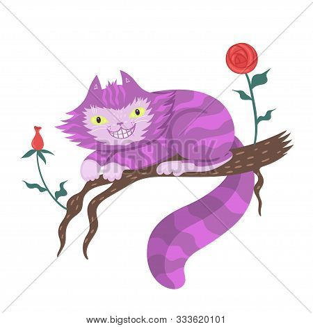 Cheshire Cat On A Branch Isolated On A White Background. Vector Image.
