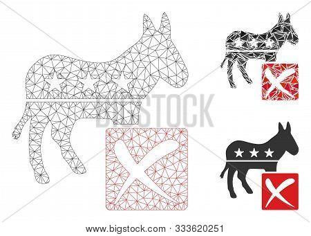 Mesh Decline Democratic Model With Triangle Mosaic Icon. Wire Frame Triangular Mesh Of Decline Democ