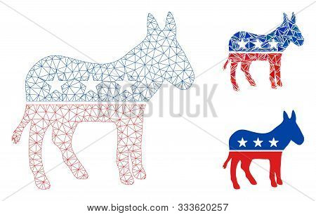 Mesh Democratic Donkey Model With Triangle Mosaic Icon. Wire Frame Triangular Mesh Of Democratic Don