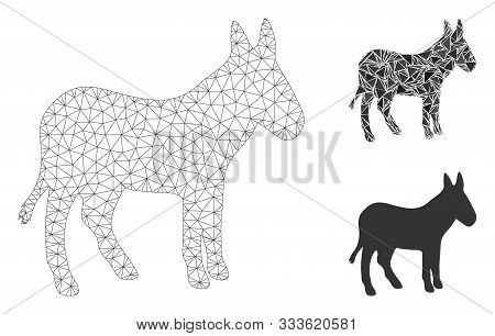 Mesh Donkey Model With Triangle Mosaic Icon. Wire Carcass Polygonal Mesh Of Donkey. Vector Compositi