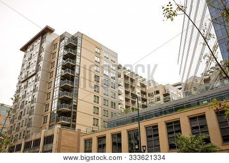 Denver, Colorado - May 19th, 2019: Modern Condos And Highrise Buildings In The Riverfront Park Neigh