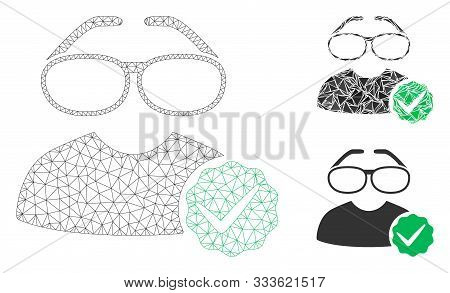 Mesh For Clevers Model With Triangle Mosaic Icon. Wire Frame Triangular Mesh Of For Clevers. Vector