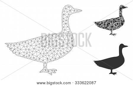 Mesh Goose Model With Triangle Mosaic Icon. Wire Frame Polygonal Network Of Goose. Vector Mosaic Of