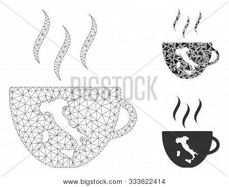 Mesh Italian Coffee Cup Model With Triangle Mosaic Icon. Wire Carcass Triangular Mesh Of Italian Cof