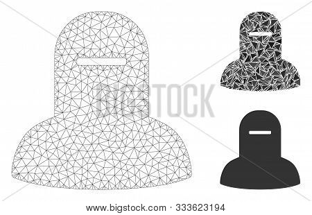 Mesh Muslim Hijab Model With Triangle Mosaic Icon. Wire Frame Polygonal Mesh Of Muslim Hijab. Vector