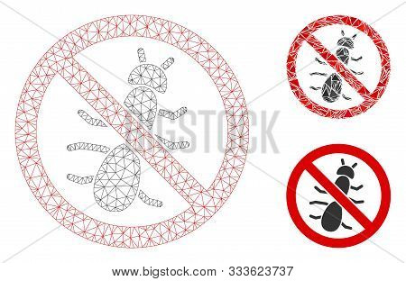 Mesh No Ant Model With Triangle Mosaic Icon. Wire Frame Triangular Mesh Of No Ant. Vector Mosaic Of