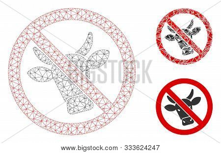 Mesh No Beef Model With Triangle Mosaic Icon. Wire Frame Polygonal Mesh Of No Beef. Vector Compositi