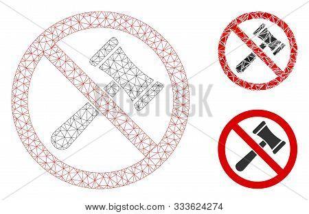 Mesh No Bids Model With Triangle Mosaic Icon. Wire Carcass Triangular Mesh Of No Bids. Vector Mosaic