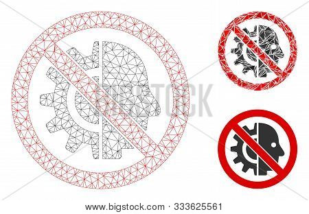 Mesh No Cyborgs Model With Triangle Mosaic Icon. Wire Frame Triangular Mesh Of No Cyborgs. Vector Mo