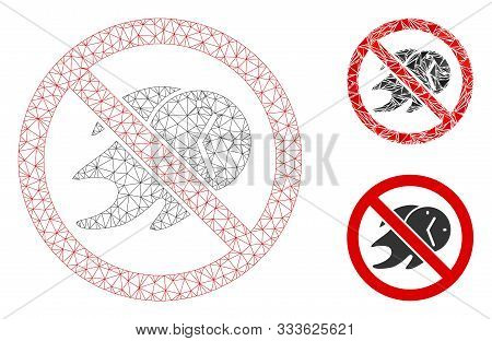 Mesh No Deadline Model With Triangle Mosaic Icon. Wire Frame Triangular Mesh Of No Deadline. Vector