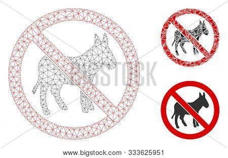 Mesh No Donkey Model With Triangle Mosaic Icon. Wire Carcass Polygonal Mesh Of No Donkey. Vector Mos