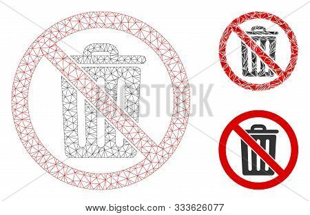 Mesh No Dustbin Model With Triangle Mosaic Icon. Wire Frame Polygonal Mesh Of No Dustbin. Vector Com