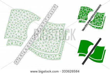 Mesh No Fee Model With Triangle Mosaic Icon. Wire Carcass Triangular Mesh Of No Fee. Vector Mosaic O