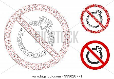 Mesh No Jewelry Model With Triangle Mosaic Icon. Wire Frame Polygonal Network Of No Jewelry. Vector