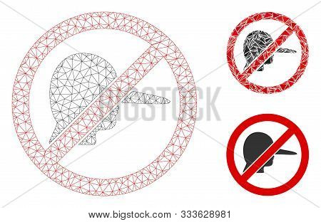 Mesh No Lier Model With Triangle Mosaic Icon. Wire Carcass Polygonal Mesh Of No Lier. Vector Mosaic