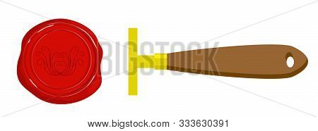 Wax Seal. Decorative Postage Stamp With The Image, Postal Wax Or Objects For Achievements And Certif