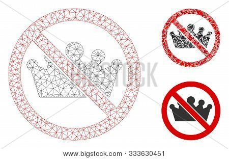 Mesh No Monarchy Model With Triangle Mosaic Icon. Wire Frame Triangular Mesh Of No Monarchy. Vector