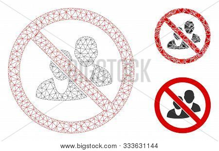 Mesh No People Model With Triangle Mosaic Icon. Wire Carcass Triangular Network Of No People. Vector