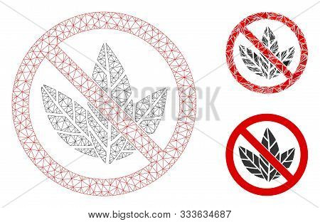 Mesh No Tobacco Model With Triangle Mosaic Icon. Wire Frame Triangular Mesh Of No Tobacco. Vector Co