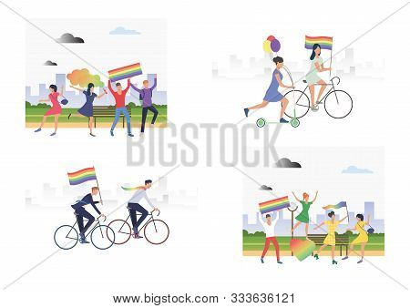 Set Of Images With People Holding Lgbt Parade With Its Symbol. Flag, Bisexual, Colourful. Vector Ill
