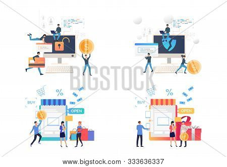 Set Of People Creating Passwords For Protecting Shopping Sites. Vector Illustrations. Development, O