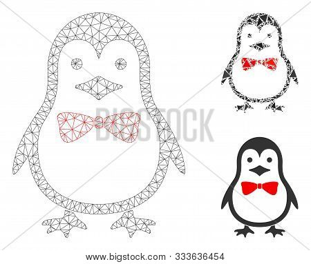 Mesh Penguin Bow Model With Triangle Mosaic Icon. Wire Frame Polygonal Mesh Of Penguin Bow. Vector M