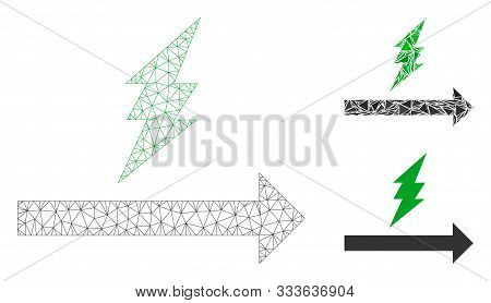 Mesh Proceed Model With Triangle Mosaic Icon. Wire Carcass Triangular Network Of Proceed. Vector Col