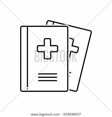 Black Line Icon For Medical-journals Medical Journals Presentation Magazine