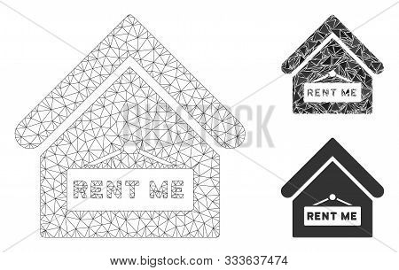 Mesh Rent Me Model With Triangle Mosaic Icon. Wire Carcass Triangular Mesh Of Rent Me. Vector Mosaic