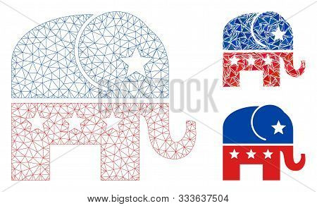 Mesh Republican Elephant Model With Triangle Mosaic Icon. Wire Frame Polygonal Network Of Republican