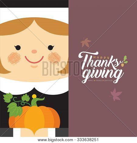 Cute Cartoon Pilgrim Girl Holding Pumpkin In Flat Design. Vector Thanksgiving Character Design. Gree