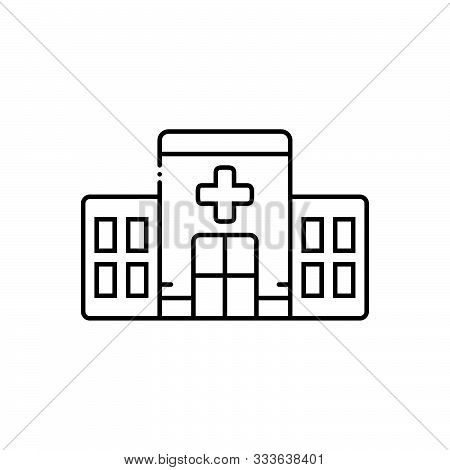 Black Line Icon For  Clinic Building Apothecary Hospital Asylum Dispensary