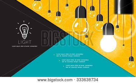 Flat Energy And Lighting Composition With Hanging Incandescent Bulbs On Yellow Background Vector Ill
