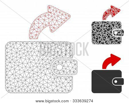 Mesh Spend Cash Model With Triangle Mosaic Icon. Wire Frame Polygonal Mesh Of Spend Cash. Vector Mos