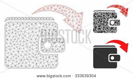 Mesh Spend Money Model With Triangle Mosaic Icon. Wire Frame Polygonal Mesh Of Spend Money. Vector C