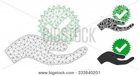 Mesh True Bonus Model With Triangle Mosaic Icon. Wire Carcass Polygonal Mesh Of True Bonus. Vector M