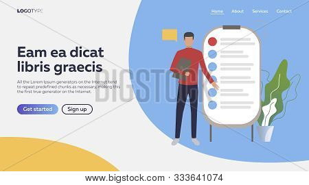 Businessman Presenting Project With The Help Of Flipchart. List, Couching, Seminar. Vector Illustrat