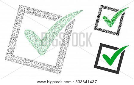 Mesh Yes Poll Model With Triangle Mosaic Icon. Wire Frame Triangular Network Of Yes Poll. Vector Mos