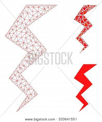 Mesh Zigzag Strike Model With Triangle Mosaic Icon. Wire Frame Polygonal Mesh Of Zigzag Strike. Vect