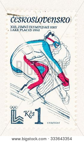 Seattle Washington - October 4, 2019: Czechoslovakia 1980  Postage Stamp With Downhill Skier, Repres